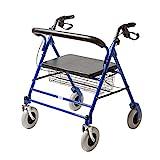 CARELINE XXL-Rollator, faltbar, höhenverstellbar, Sitzbreite: 56 cm, maximale Belastbarkeit 227 kg, Farbe Blau